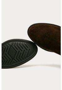 Brązowe botki GANT z okrągłym noskiem, z cholewką