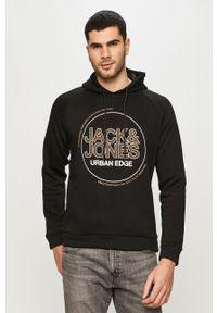 Czarna bluza nierozpinana Jack & Jones na co dzień, z kapturem