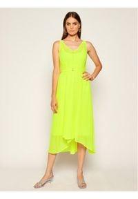 DKNY Sukienka koktajlowa P0CAGESL Żółty Regular Fit. Kolor: żółty. Styl: wizytowy