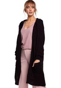Sweter MOE w ażurowe wzory, z kapturem, długi