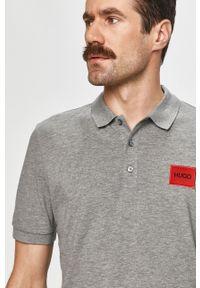 Szara koszulka polo Hugo z aplikacjami, polo, krótka