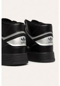 Czarne sneakersy adidas Originals na sznurówki, z okrągłym noskiem, z cholewką