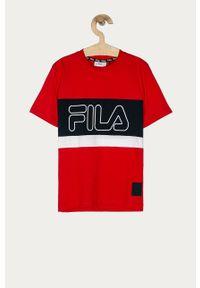 Czerwony t-shirt Fila na co dzień, casualowy, z nadrukiem