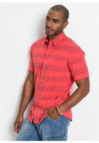 Czerwona koszula bonprix krótka, z krótkim rękawem, w paski