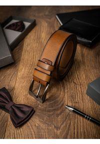 BUFFALO WILD - Pasek męski skórzany Buffalo Wild brązowy. Kolor: brązowy. Materiał: skóra. Styl: klasyczny, elegancki