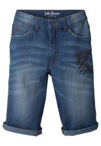 """Bermudy dżinsowe chłopięce Slim Fit bonprix niebieski """"stone"""". Kolor: niebieski. Wzór: nadruk"""