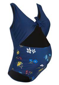 Żółty strój kąpielowy bonprix z nadrukiem, moda ciążowa