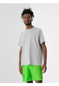 4f - T-shirt męski. Kolor: szary. Materiał: dzianina, bawełna. Długość rękawa: raglanowy rękaw