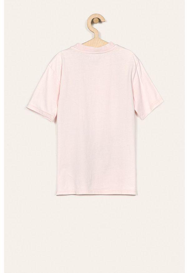 Różowy t-shirt Guess Jeans z okrągłym kołnierzem, casualowy, z aplikacjami