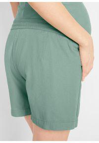 Szorty ciążowe bojówki bonprix dymny zielony. Kolekcja: moda ciążowa. Kolor: zielony