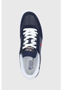 Niebieskie sneakersy Polo Ralph Lauren na sznurówki, z cholewką