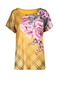 Born2be - Żółta Bluzka Kalirodia. Kolor: żółty. Materiał: dzianina. Długość: krótkie. Wzór: kwiaty, aplikacja. Sezon: lato, wiosna