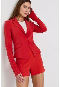 Patrizia Pepe - Marynarka. Kolor: czerwony. Wzór: aplikacja. Styl: klasyczny
