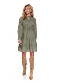 Zielona sukienka TOP SECRET koszulowa, w koronkowe wzory
