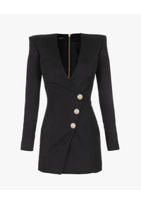 Balmain - BALMAIN - Sukienka z wełny. Kolor: czarny. Materiał: wełna. Długość rękawa: długi rękaw. Wzór: aplikacja. Długość: mini
