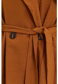 Answear Lab - Trencz. Okazja: na co dzień. Kolor: brązowy. Materiał: tkanina. Długość rękawa: raglanowy rękaw. Wzór: gładki. Styl: wakacyjny #4