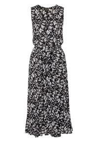 Sukienka midi z nadrukiem bonprix czarno-biały w kwiaty. Kolor: czarny. Długość rękawa: bez rękawów. Wzór: kwiaty, nadruk. Długość: midi