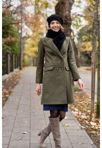 Marie Zélie - Płaszcz wełniany Debora ciemnozielony. Kolor: zielony. Materiał: wełna. Wzór: motyw zwierzęcy, ze splotem. Sezon: zima. Styl: klasyczny