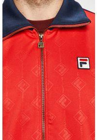 Czerwona bluza rozpinana Fila z aplikacjami, bez kaptura #6