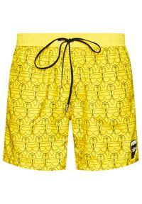 Karl Lagerfeld - KARL LAGERFELD Szorty kąpielowe Carry Over KL21MBM12 Żółty Regular Fit. Kolor: żółty