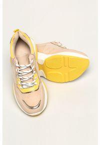 Beżowe buty sportowe ANSWEAR z okrągłym noskiem, na sznurówki