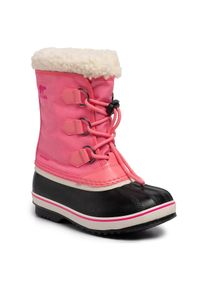 Różowe buty zimowe sorel na spacer