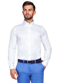 Biała koszula Lancerto wizytowa, w kolorowe wzory