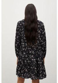 mango - Mango - Sukienka Grass. Kolor: czarny. Materiał: tkanina. Długość rękawa: długi rękaw