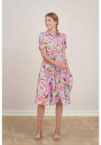 Marie Zélie - Sukienka Marina Aquarelle biała. Kolor: biały. Materiał: wiskoza, len, materiał. Długość rękawa: krótki rękaw. Sezon: lato. Typ sukienki: szmizjerki