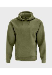 MegaKoszulki - Męska bluza z kapturem melanżowa (bez nadruku, gładka) - zielona. Typ kołnierza: kaptur. Kolor: zielony. Wzór: melanż, gładki