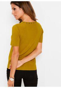 Brązowy sweter bonprix krótki, z krótkim rękawem