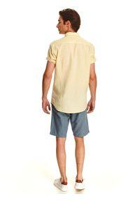 TOP SECRET - Koszula z lnem o kroju slim. Kolor: żółty. Materiał: len. Długość rękawa: krótki rękaw. Długość: krótkie. Sezon: lato, wiosna #2