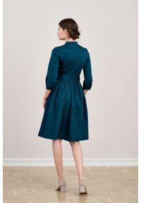 Marie Zélie - Sukienka Aglaia bawełna z elastanem zieleń. Typ kołnierza: kołnierzyk stójkowy. Materiał: elastan, bawełna