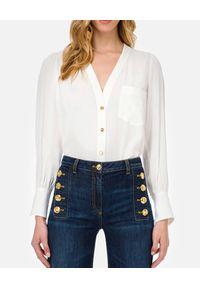 Elisabetta Franchi - ELISABETTA FRANCHI - Biała koszula ze złotymi guzikami. Okazja: do pracy. Kolor: biały. Materiał: tkanina, jeans. Styl: elegancki