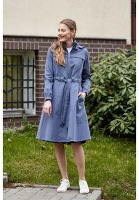 Marie Zélie - Parka Linda bawełna z elastanem szarobłękitna. Kolor: niebieski. Materiał: bawełna, elastan. Długość: długie. Sezon: lato