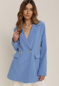 Renee - Niebieska Marynarka Myrithais. Kolor: niebieski. Materiał: materiał. Długość rękawa: długi rękaw. Długość: długie. Styl: klasyczny