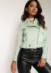 Renee - Miętowa Ramoneska Charlee. Kolor: miętowy. Materiał: jeans, zamsz. Długość rękawa: długi rękaw. Długość: długie. Wzór: aplikacja. Styl: wizytowy, klasyczny