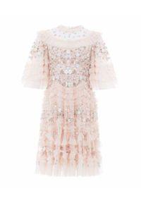 NEEDLE & THREAD - Sukienka mini Lalabelle. Kolor: różowy, wielokolorowy, fioletowy. Materiał: tkanina, szyfon. Wzór: kwiaty, aplikacja, nadruk. Typ sukienki: rozkloszowane. Długość: mini