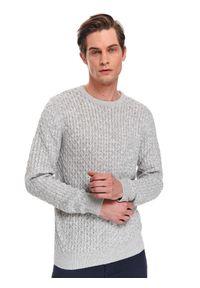 Szary sweter TOP SECRET z długim rękawem, na wiosnę, w kolorowe wzory