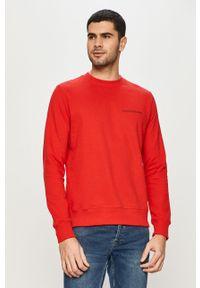 Czerwona bluza nierozpinana Calvin Klein Jeans casualowa, bez kaptura, na co dzień, z nadrukiem