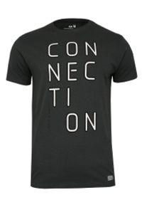 Grafitowy T-shirt Męski, Krótki Rękaw -Just Yuppi- Koszulka, z Nadrukiem, Koszulka w Napisy, Szara. Okazja: na co dzień. Kolor: szary. Materiał: bawełna. Długość rękawa: krótki rękaw. Długość: krótkie. Wzór: nadruk. Styl: casual