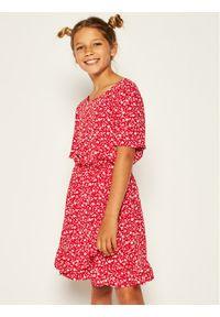 Czerwona sukienka TOMMY HILFIGER na co dzień, prosta, z nadrukiem