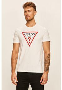 Biały t-shirt Guess Jeans z nadrukiem, casualowy, z okrągłym kołnierzem