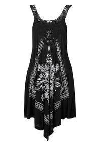 Sukienka plażowa bonprix czarny. Okazja: na plażę. Kolor: czarny. Materiał: koronka. Wzór: koronka