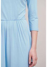 Marie Zélie - Sukienka Limosa błękitna. Kolor: niebieski. Materiał: materiał, wiskoza, dzianina, elastan. Długość: midi