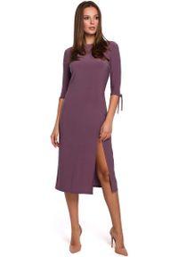 Fioletowa sukienka wizytowa MAKEOVER wizytowa, w kolorowe wzory