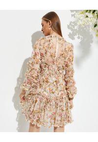 NEEDLE & THREAD - Sukienka mini Garland Flora. Kolor: beżowy. Materiał: materiał. Wzór: nadruk, kwiaty. Typ sukienki: rozkloszowane. Długość: mini