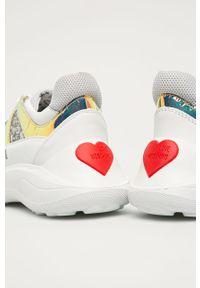 Białe buty sportowe Love Moschino z okrągłym noskiem, z cholewką, na sznurówki
