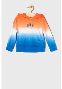 Pomarańczowa bluza GAP na co dzień, z kapturem, z aplikacjami