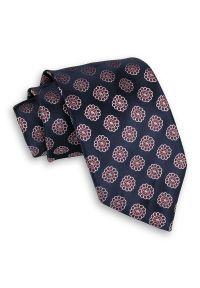 Granatowy Męski Krawat -Chattier- 8cm, Klasyczny, Szeroki, Elegancki, w Biało-Czerwone Kwiatki. Kolor: niebieski, czerwony, wielokolorowy. Materiał: tkanina. Wzór: kwiaty. Styl: klasyczny, elegancki
